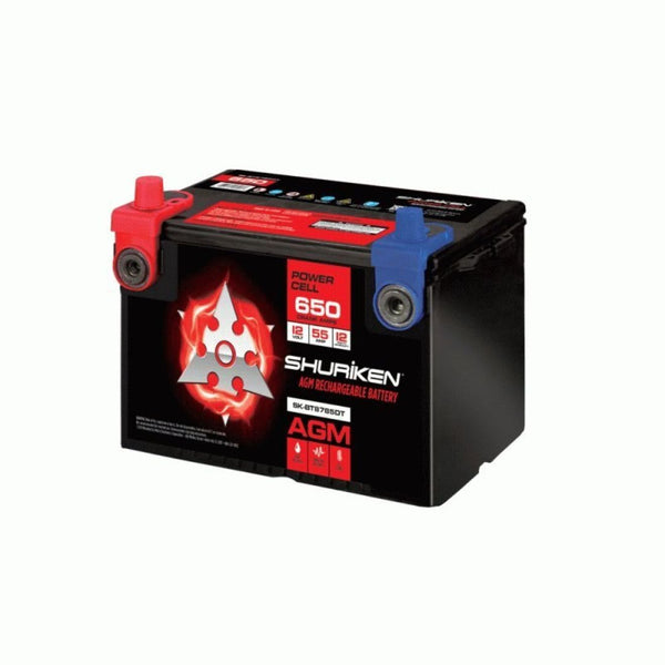 Shuriken SK-BT8785DT, 650W 55AMP Compact Dual Post AGM Battery