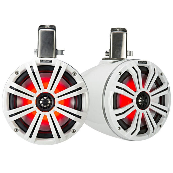 Kicker KMTC65W, KMTC65 (165mm) Loaded Marine Cans with 45KM654L speaker pair; white grill on white can (45KMTC65W)