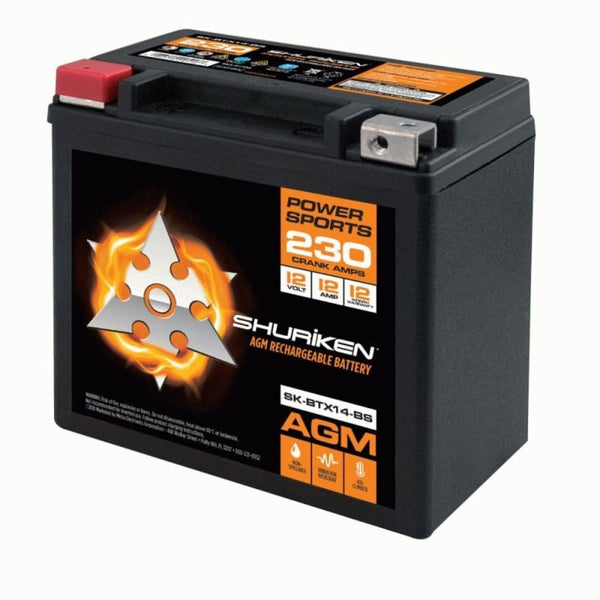 Shuriken SK-BTX14-BS, 230 Crank AMPS 12AMP Hours AGM Battery