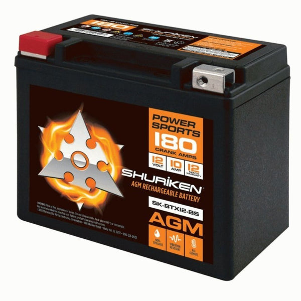 Shuriken SK-BTX12-BS, 180 Crank AMPS 10AMP Hours AGM Battery