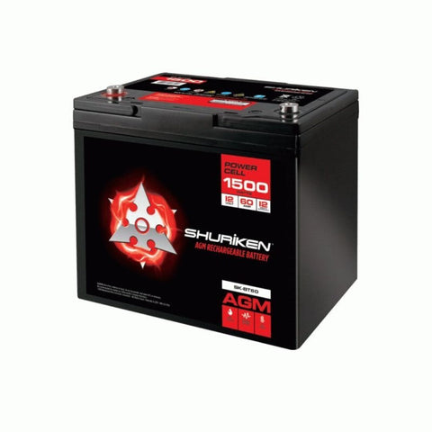 Shuriken SK-BT60, 1500W 60AMP Hours Compact Size AGM 12V Battery