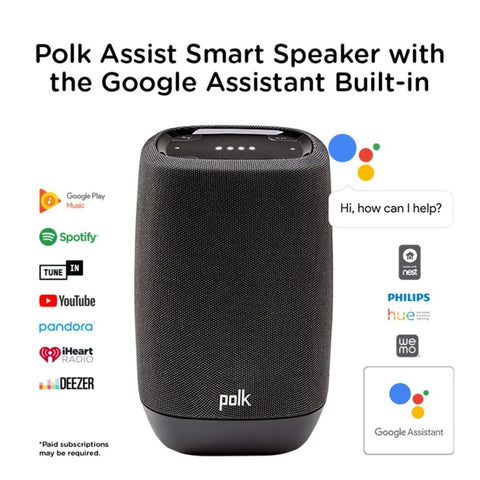 Polk Audio ASSIST, Smart Speaker with the Google Assistant Built-In - Black