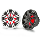 "Kicker KM84L, KM 8"" Marine Coaxial Speakers w/ 1"" (25mm) Tweeters, LED, 4-Ohm, Charcoal and White Grilles (45KM84L)"