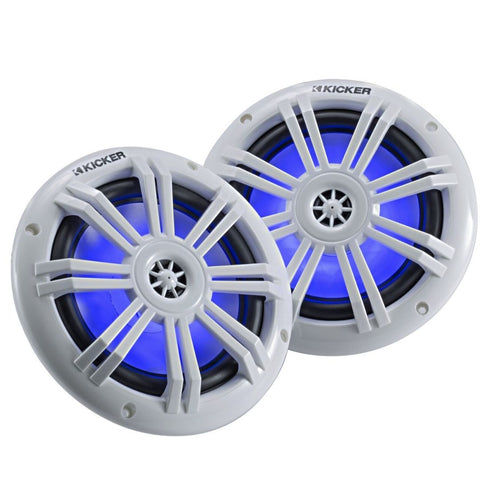 "Kicker KM604WL, KM 6.5"" Marine Coaxial Speakers w/ 1/2"" (13mm) Tweeters, White, 4-Ohm) w/ Blue LED (45KM604WL)"
