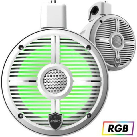 Wet Sounds RECON 6 POD-W, Recon PODS loaded with RECON 6-S RGB Coaxial Speakers XW White Grill White Cone-closed Grille - White