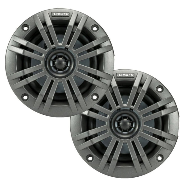 "Kicker KM42, KM 4"" Marine Coaxial Speakers w/ 1/2- Inch (13mm) Tweeters, Charcoal and White, 2 Ohm (45KM42)"