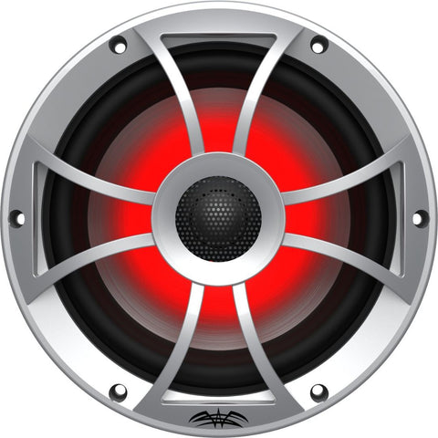 "Wet Sounds RECON 8-S RGB, Recon Series RGB 8"" Coaxial Speakers XS Silver Grill Gun Metal Cone - Silver"