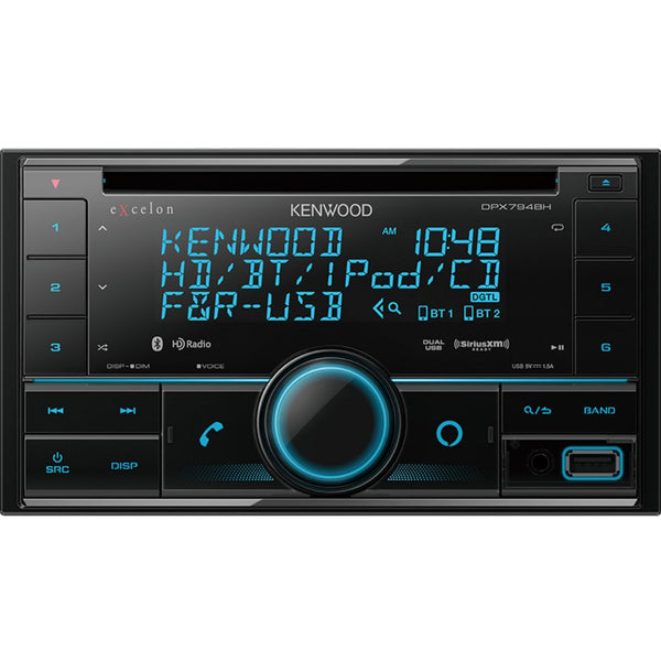 Kenwood DPX794BH, eXcelon Double Din CD Receiver w/ HD Radio, Bluetooth, Front/Rear USB, SiriusXM Ready - Alexa Built-in