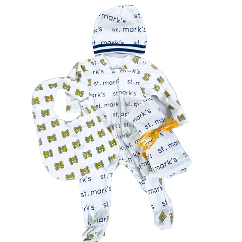SM/St. Mark's Baby Onesie, Hat, Bib and Blanket