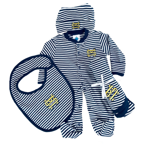 Striped Baby Onesie, Hat, Bib and Blanket