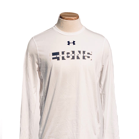 Under Armour Performance Long Sleeve Striped Lions White Tee