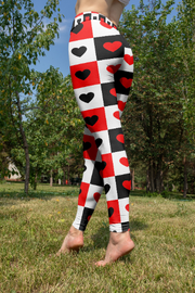 High Waisted Checkered Hearts Leggings-Just Women Leggings