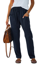 Women's Blue Casual Drawstring Elastic Waist Pants with Pockets