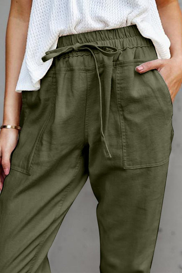 Green Casual Pockets Pant