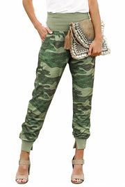 Womens Green Camouflage Pocket Casual Pants With Slit