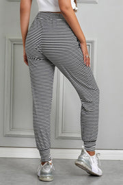 Black White Striped Casual Legging