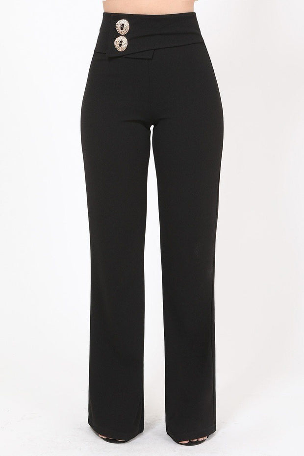 Oversized Button Front Detail Pants