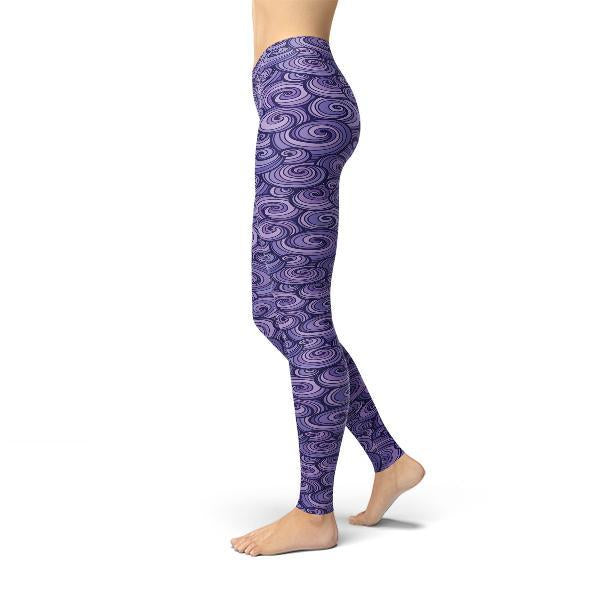 Jean Purple Swirls Leggings-Just Women Leggings