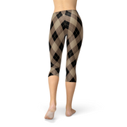 Brown Argyle Capri Legging-Just Women Leggings