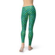 Womens Green Mermaid Legging-Just Women Leggings