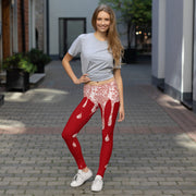 Red Liquid Glitter Leggings