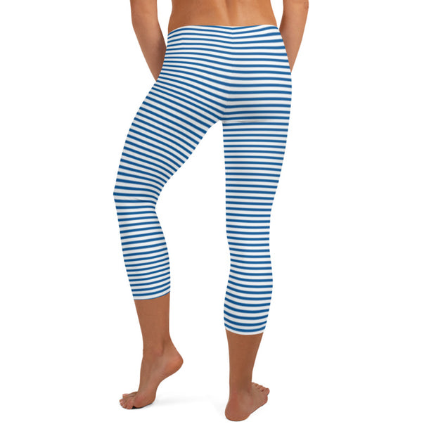 Blue Striped leggings for Ladies