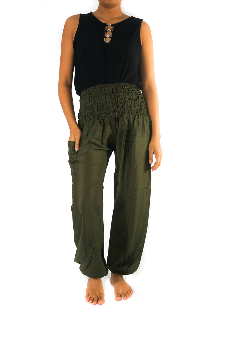 Solid Green Women Boho Pant