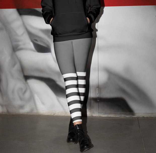 Gray Striped Legging 2021-Just Women Leggings