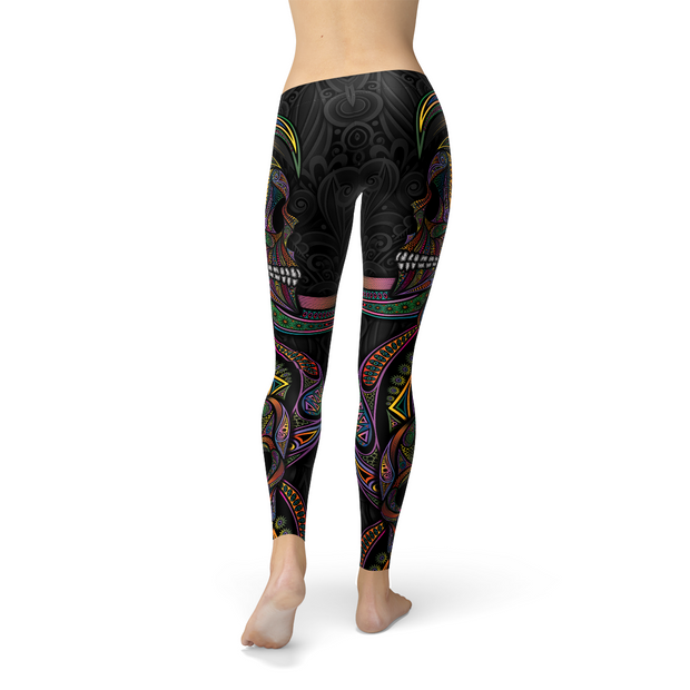 Women Sugar Skull Legging-Just Women Leggings