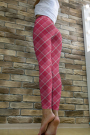 Pink Plaid Leggings for Women-Just Women Leggings