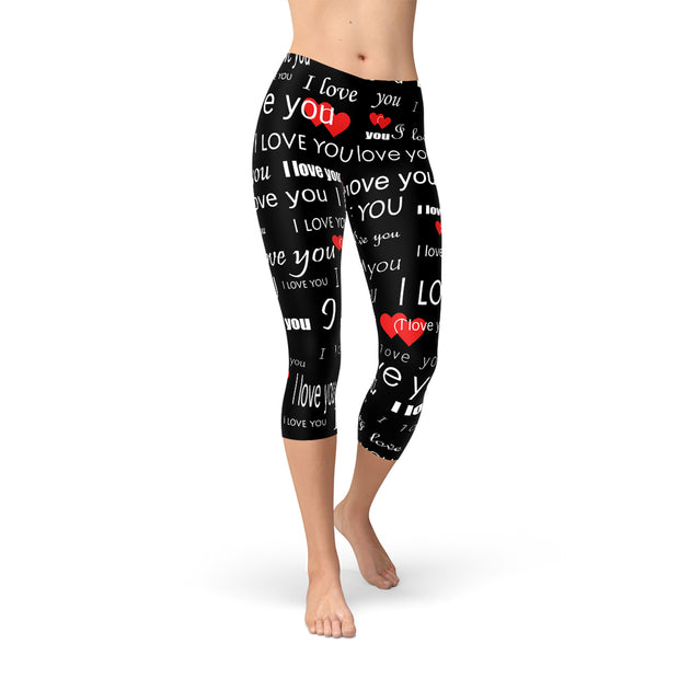 I Love You Black Capri Leggings-Just Women Leggings