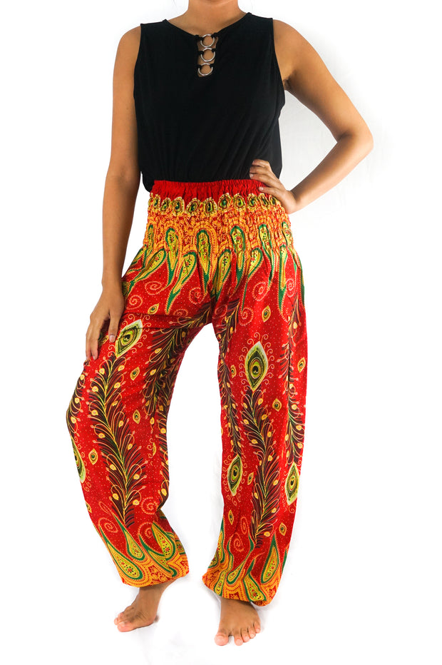 Orange Peacock Boho Hippie Pant