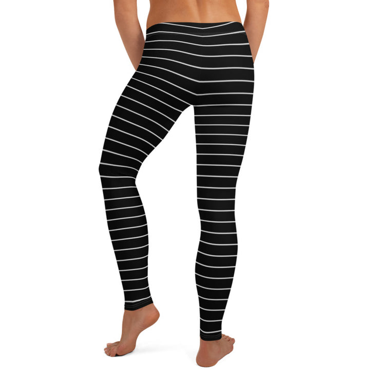 Thin Striped Black Legging-Just Women Leggings