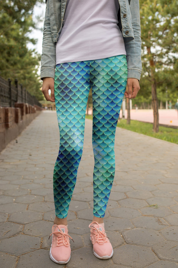 Brenda Blue Mermaid Legging-Just Women Leggings
