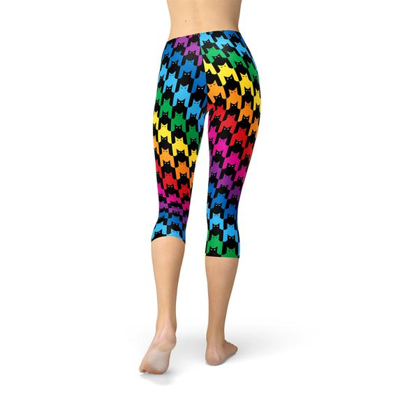Women Houndstooth Capri Legging-Just Women Leggings