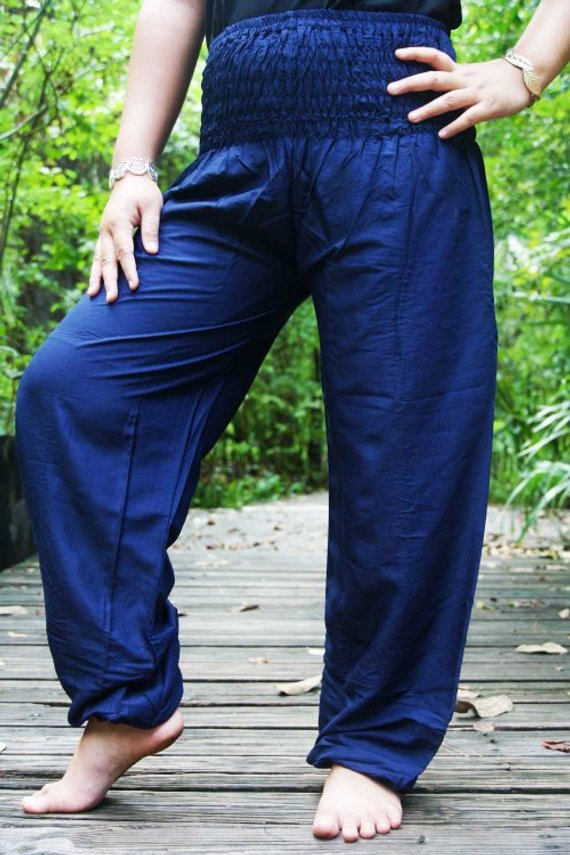Solid Blue Women Boho Pant