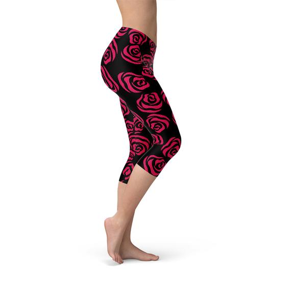 Red Roses Capri Leggings-Just Women Leggings