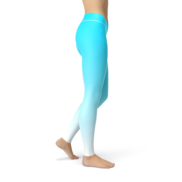 Blue White Ombre Leggings-Just Women Leggings