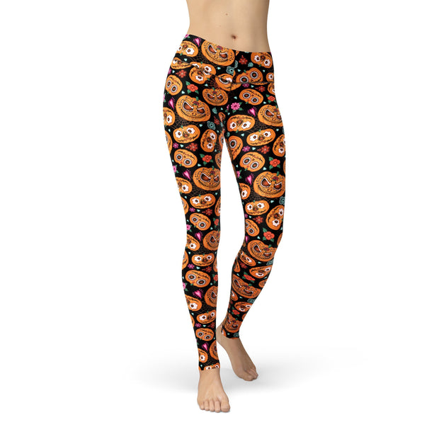 Jean Pumpkin Faces Leggings-Just Women Leggings