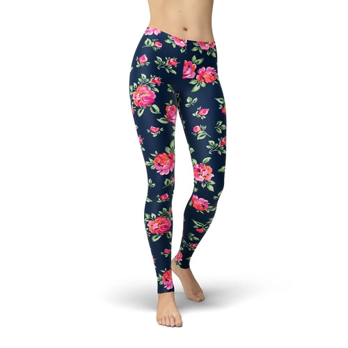 Jean Pink Roses Leggings
