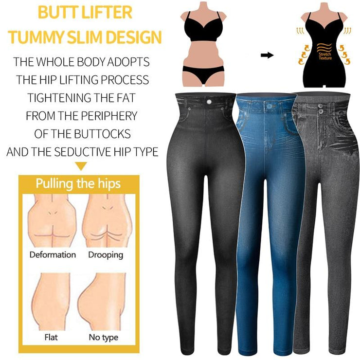 Faux Denim Jeans Legging-Just Women Leggings