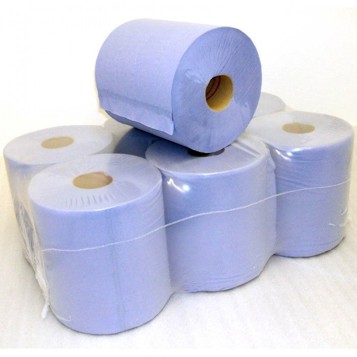 150M 2 PLY BLUE CLEANER ROLL PK 6