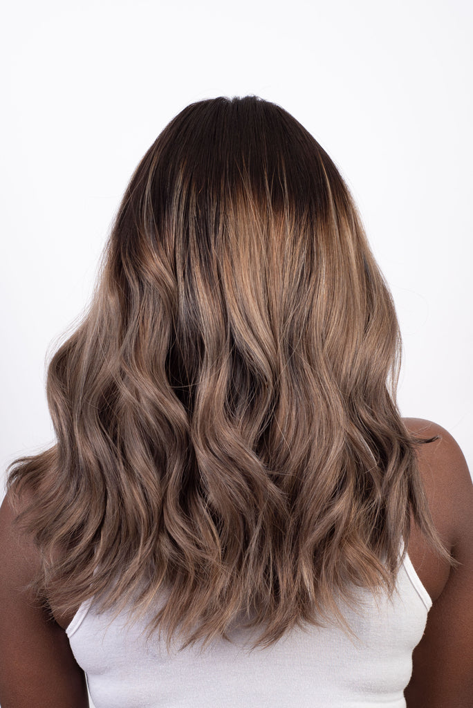 Dark Brown to Ashy Blonde Ombre - 100% Human Hair Wig