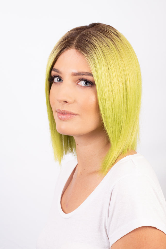 Neon Green with Roots Straight Bob - 100% Human Hair Wig