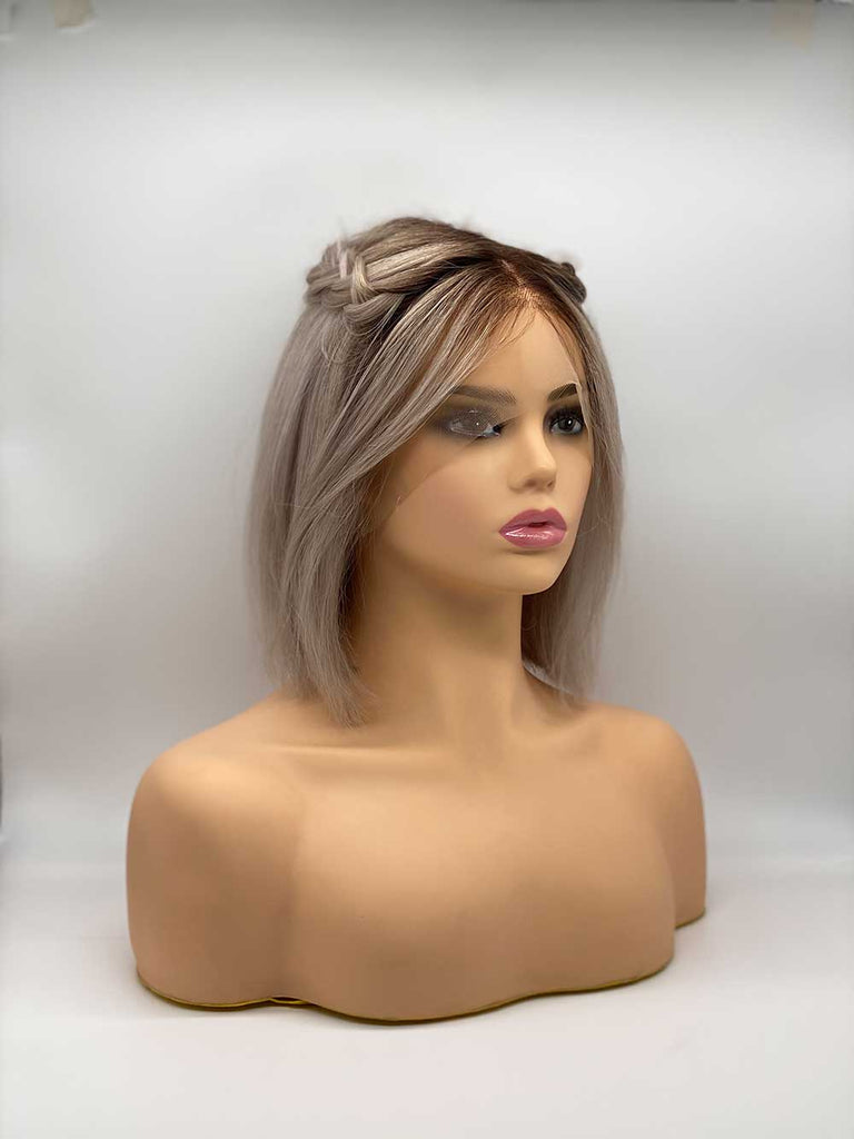 Silver with Roots Straight Bob - 100% Human Hair Wig