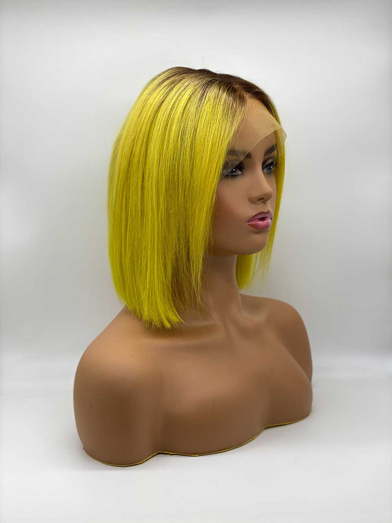 Yellow with Roots Straight Bob - 100% Human Hair Wig