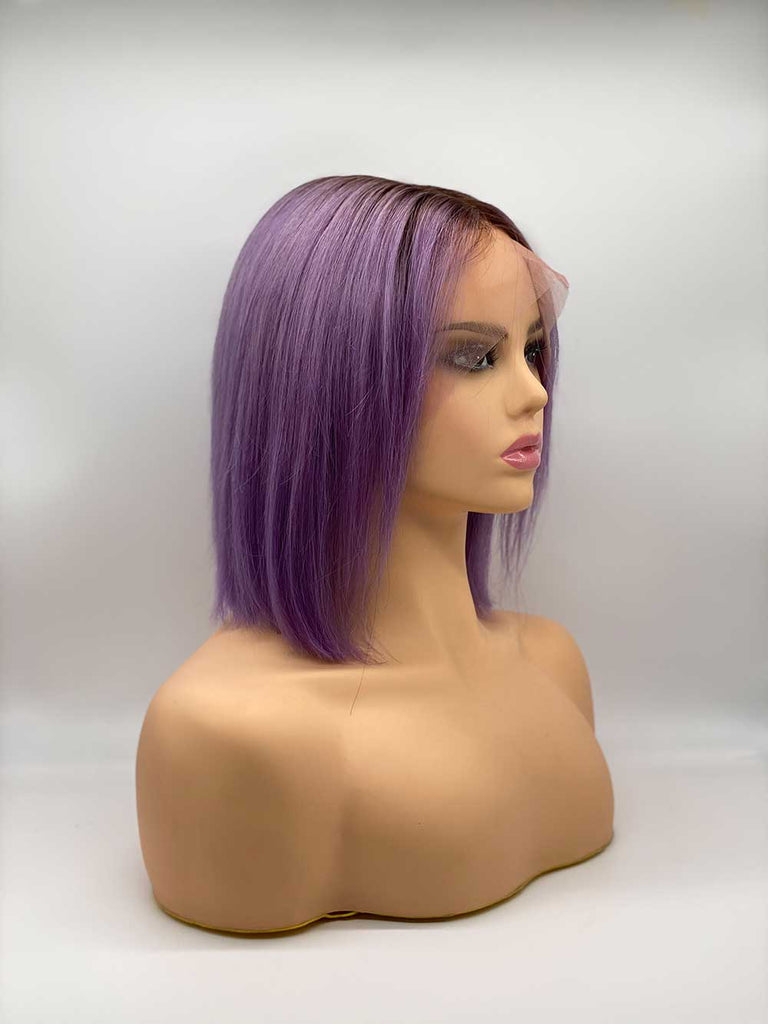 Purple with Roots Straight Bob - 100% Human Hair Wig