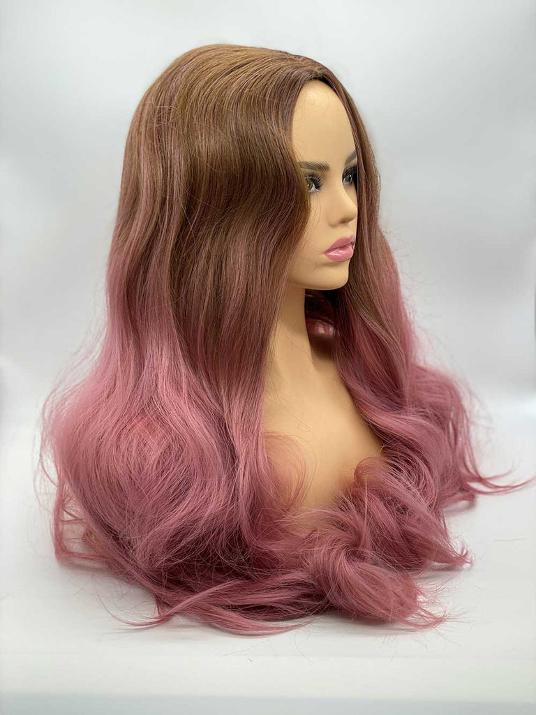 Pink Rooted Loose Waves - Lace Front Synthetic Wig