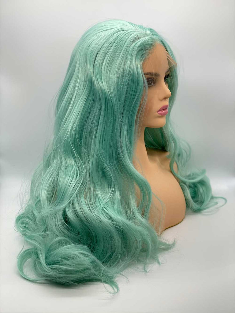 Pastel Blue Hollywood Waves - Lace Front Synthetic Wig