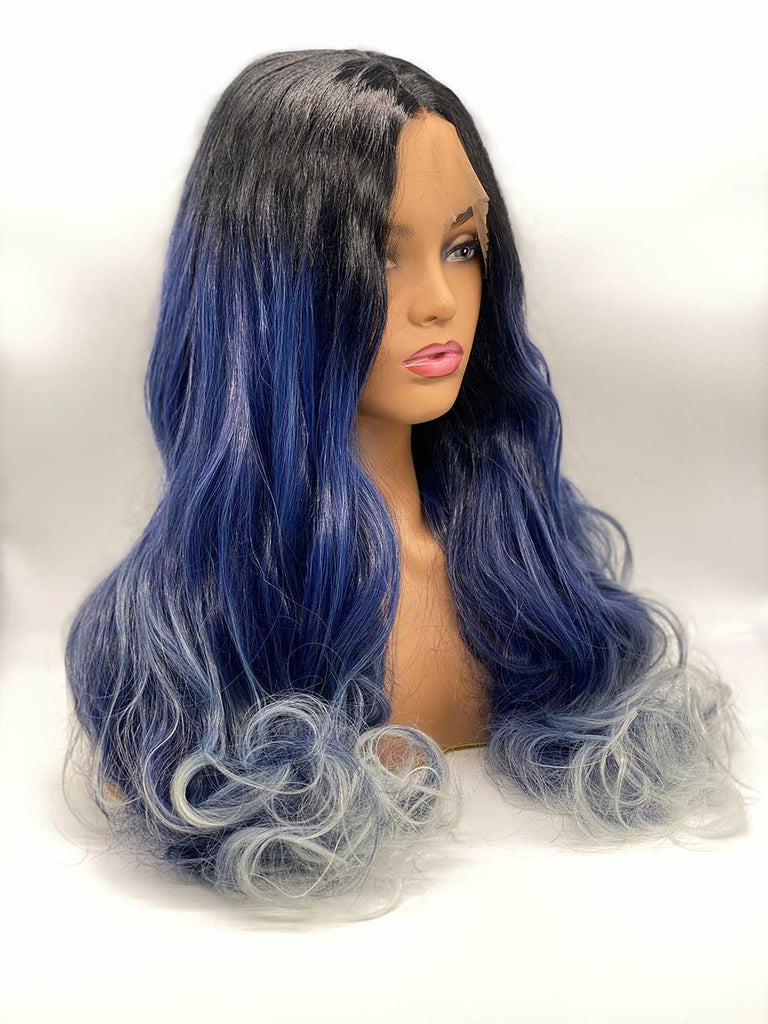 Rooted Black and Blue Waves - Lace Front Synthetic Wig